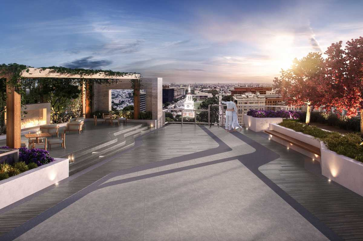 One rooftop at  500 Walnut, which on Thursday celebrated its near-completion with a topping-off ceremony. Located on the development´s fourth floor, the outdoor terrace faces Independence Hall and features fireplaces and outdoor seating.