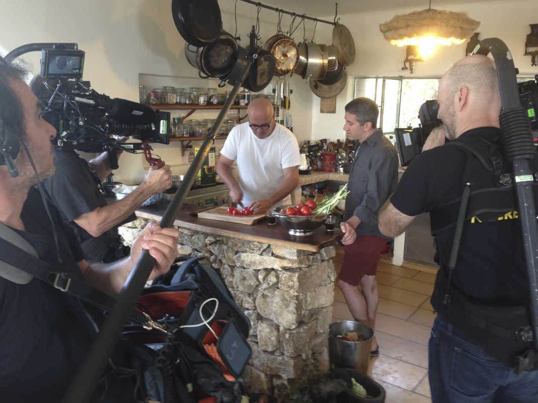 Erez Komoravsky and Michael Solomonov on the set of &quot;In Search of Israeli Cuisine.&quot;<br />