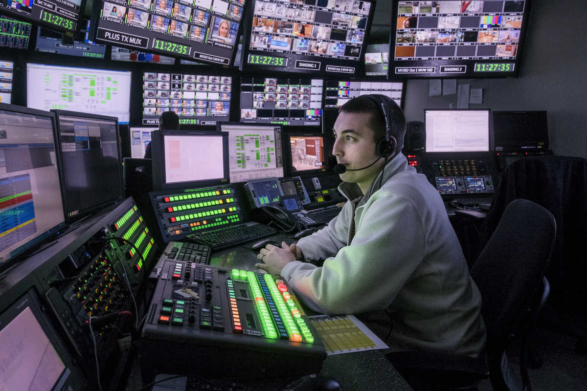 Friday March 31, 2017 Jonathan Takiff writes about the changing times at QVC where big data and new tech tools both sharpening their focus and broadening their reach<br /> Here,  Master Control Operator Ben Yocum monitors programing and data in the control room.ED HILLE / Staff Photographer