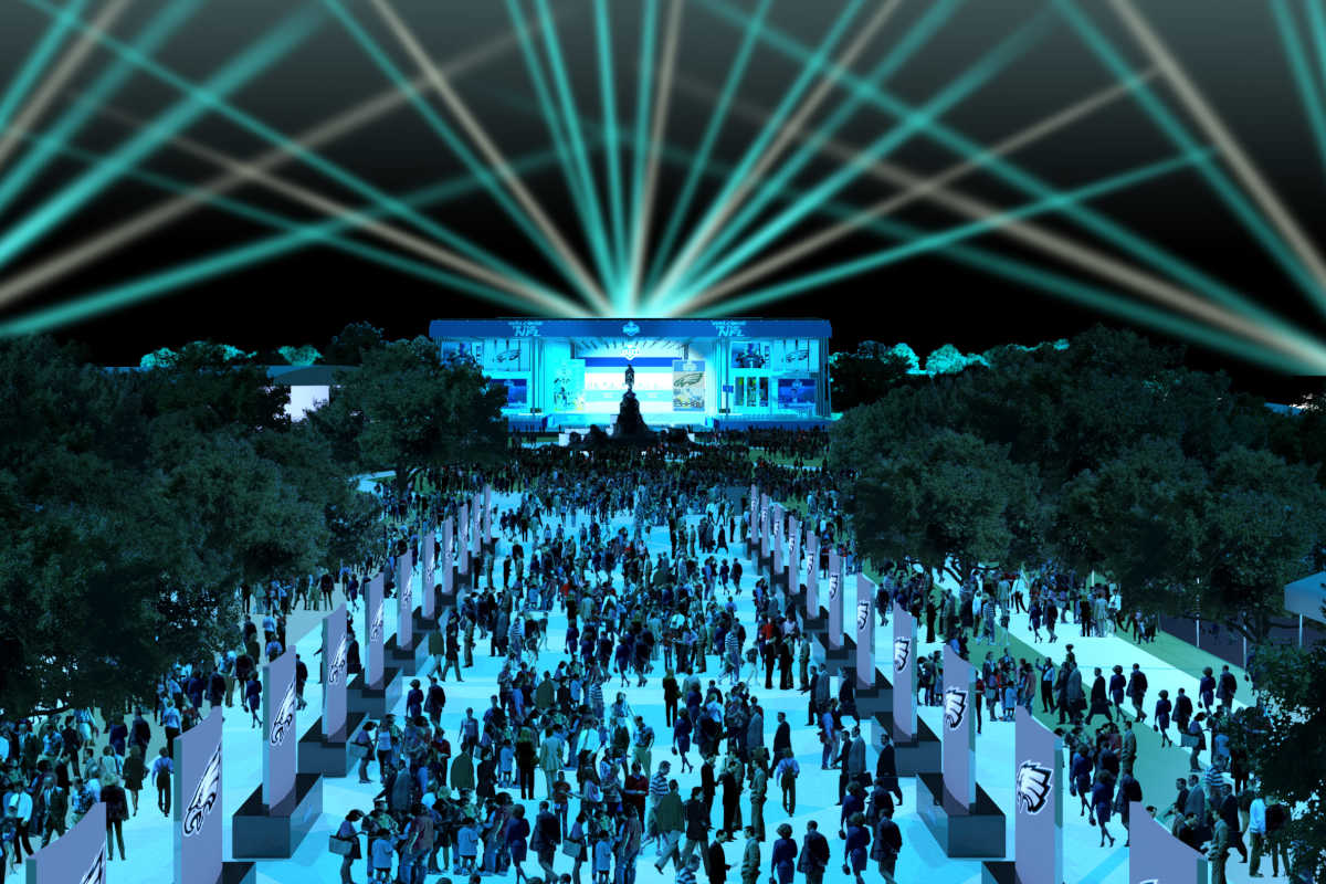 Night rendering] from the NFL of the NFL Draft Experience on the Parkway from April 27-29.