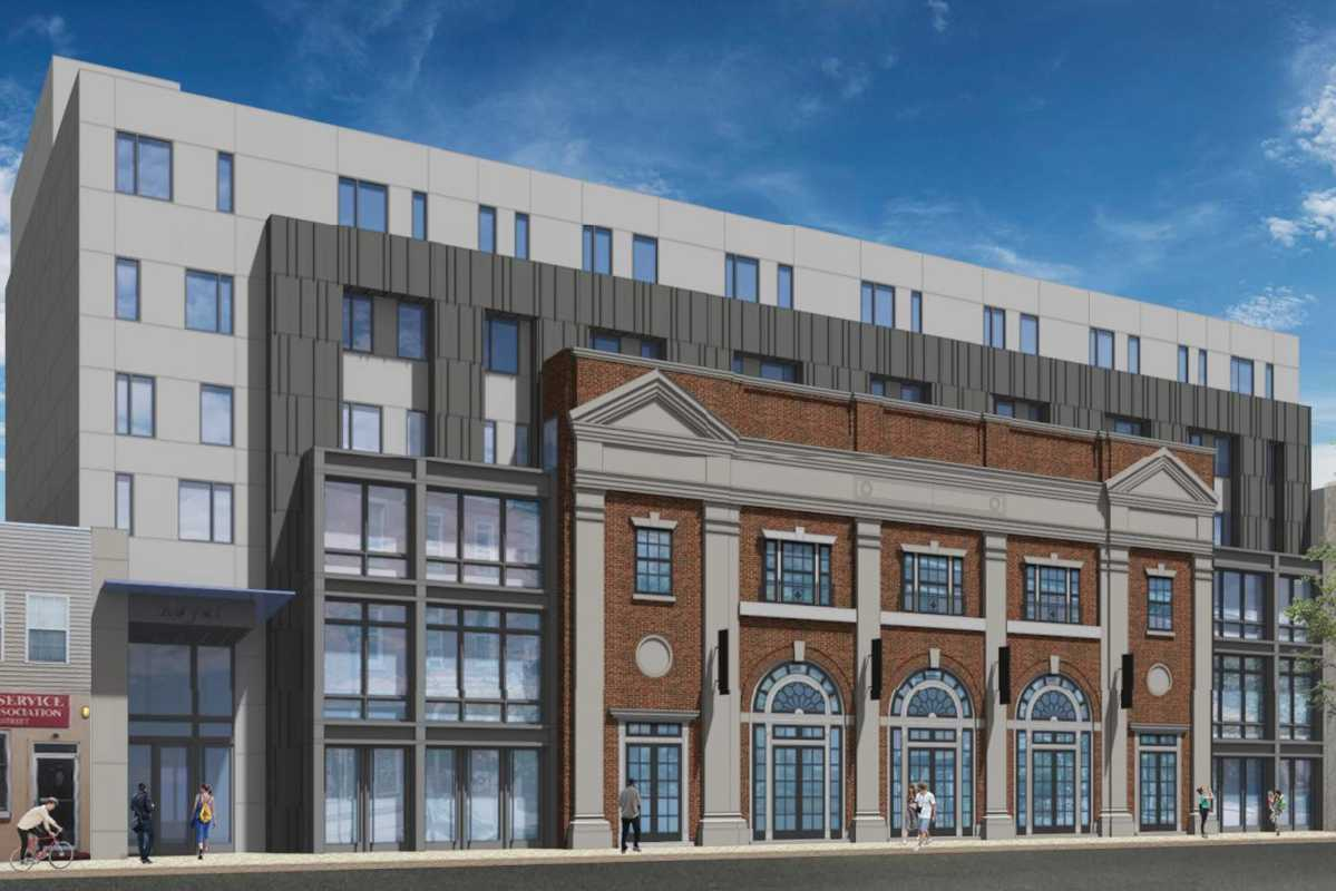Artist's rendering of the planned Royal residential complex at 1520-36 South Street, which incorporates the facade of the historic Royal Theater.
