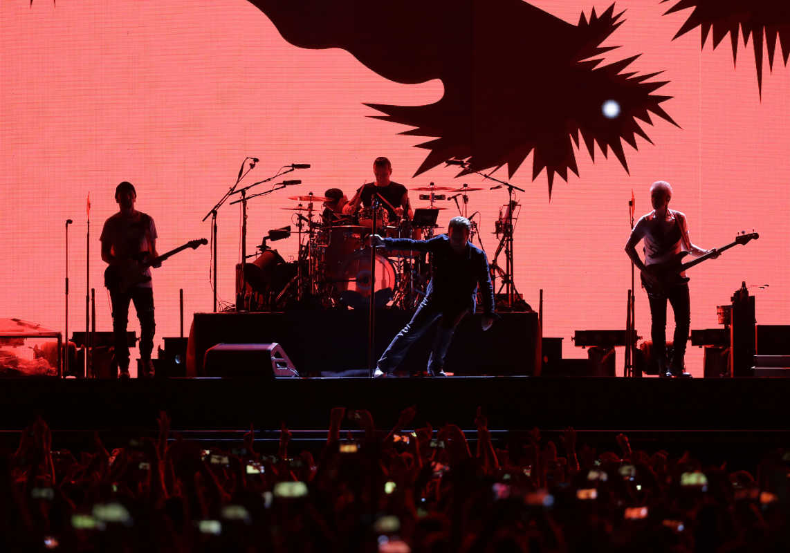 U2 prepares to perform during the Joshua Tree Tour 2017 at Lincoln Financial Field on Sunday.