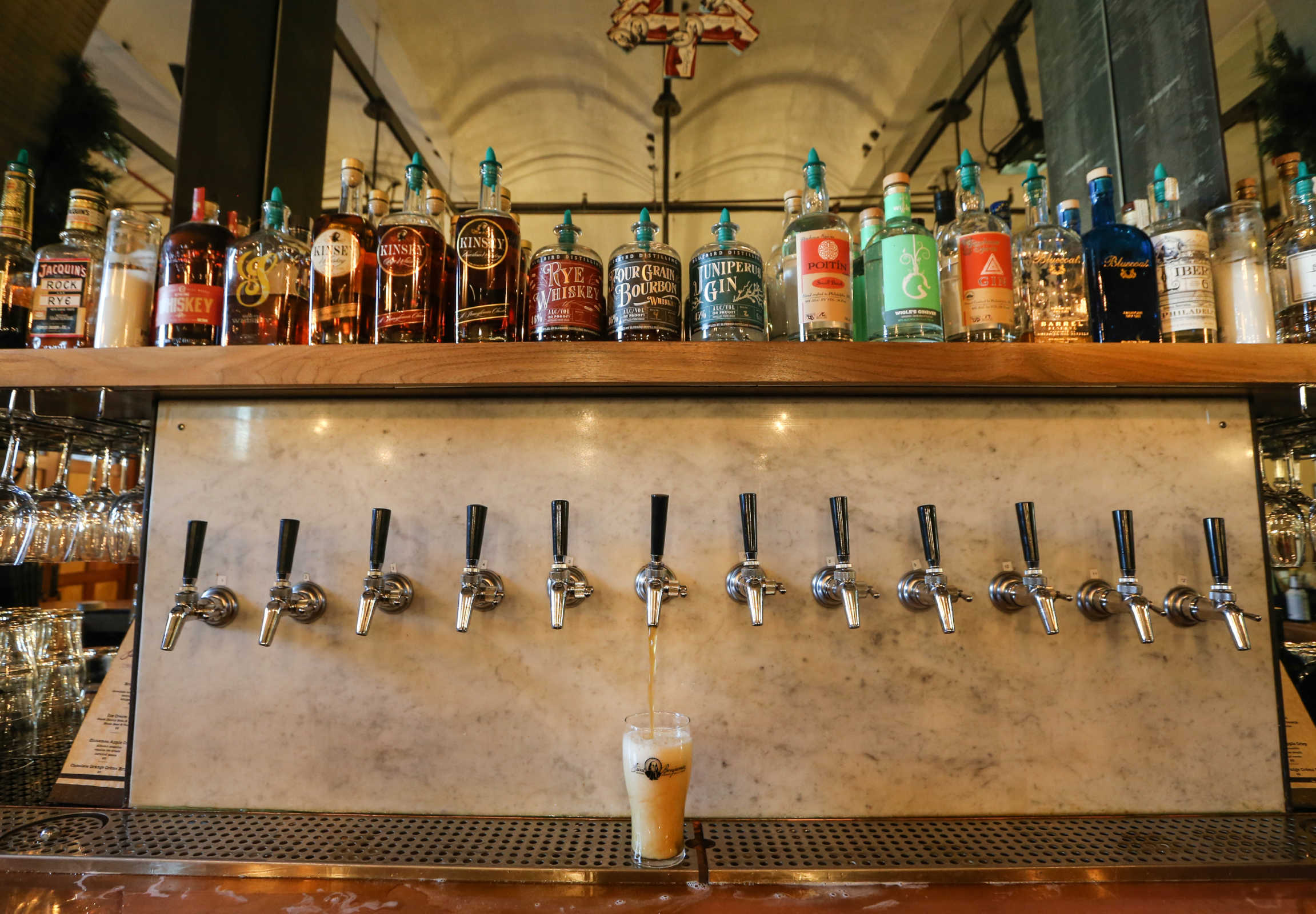 St. Benjamin Brewing Co. in Kensington stocks the gamut of Pennsylvania spirits, thanks to last summer´s liquor-law changes that allowed Pennsylvania limited wineries, brew pubs, and distillers to sell each other´s products for on-premise consumption.