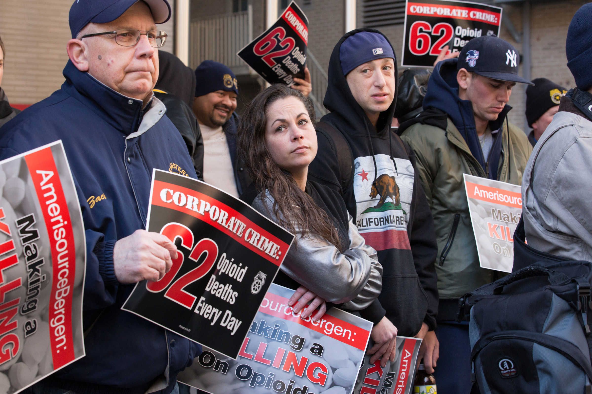 (Left to Right) Mike Zachwieja, Jami Giuffre, Michael White, and Louis DeCero, at a protest with Teamsters outside AmericsourceBergen's annual shareholders meeting at the Sofitel Hotel, in Philadelphia, Thursday, March 2, 2017. The protesters were seeking to point a spotlight at drug wholesaler  AmericsourceBergen's role in the opiod epidemic while union officials inside the meeting were demanding more accountability from the company's board.
