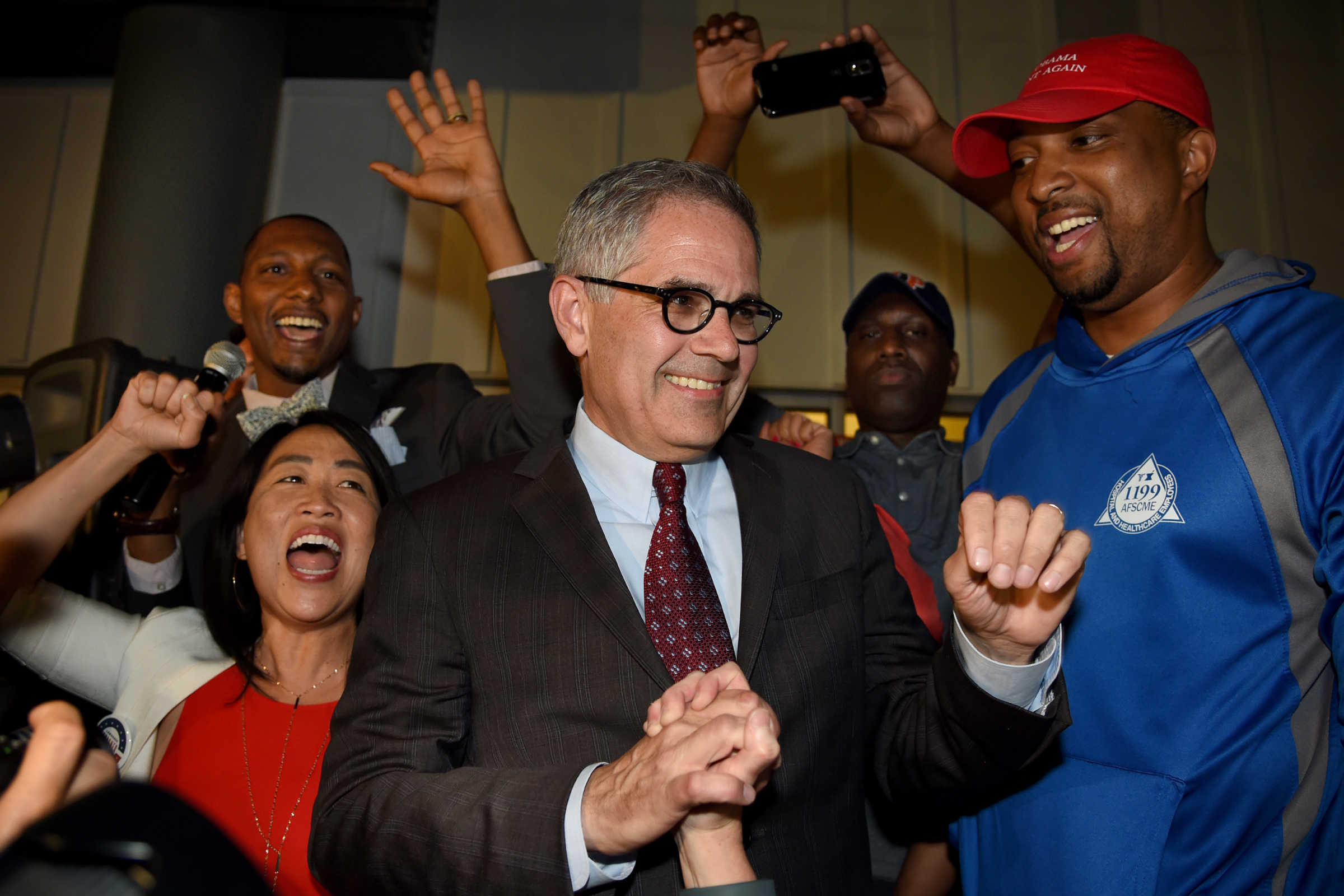 Civil rights attorney and District Attorney candidate Larry Krasner makes his victory speech at his election night party at the John C. Anderson Apartments on May 16, 2017.