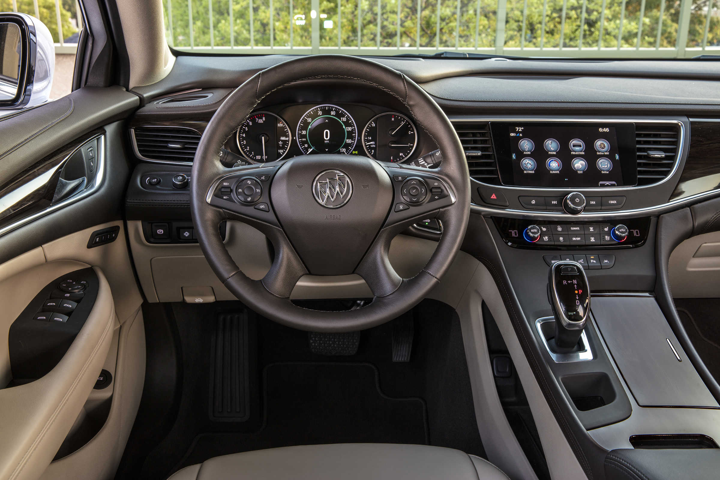Inside the 2017 Buick LaCrosse, the view is fairly standard General Motors features.