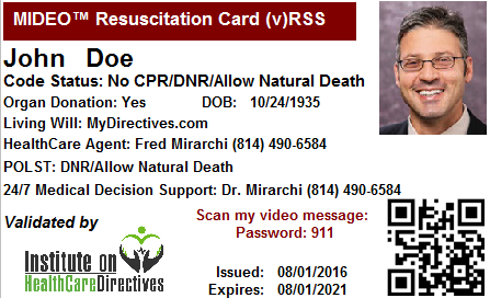 "This is an example of the ""Resuscitation Card"" that Ferdinando Mirarchi creates for patients."