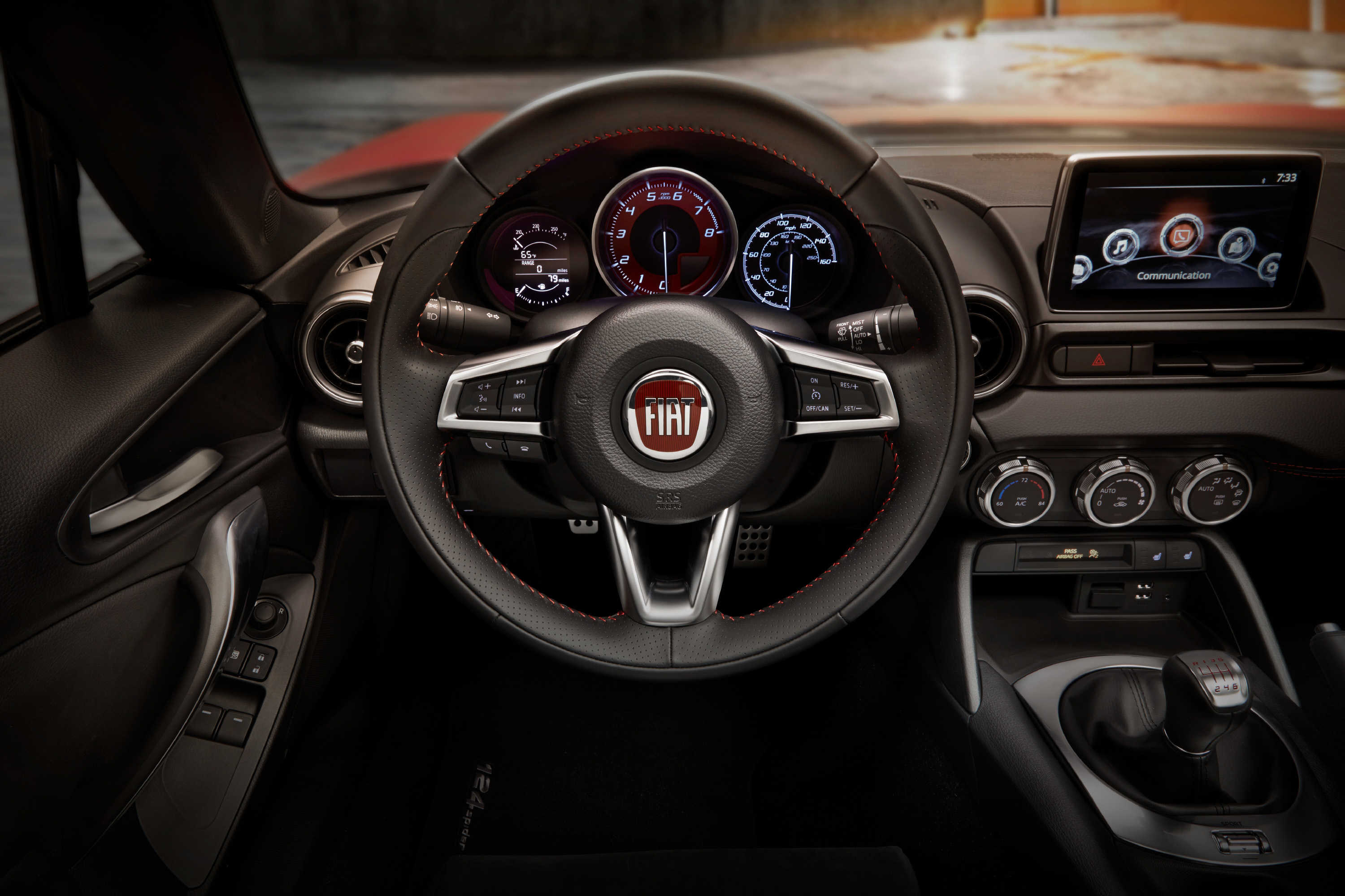 The 2017 Fiat 124 Spider's interior picks up the nice touches that inhabit the Mazda MX-5.