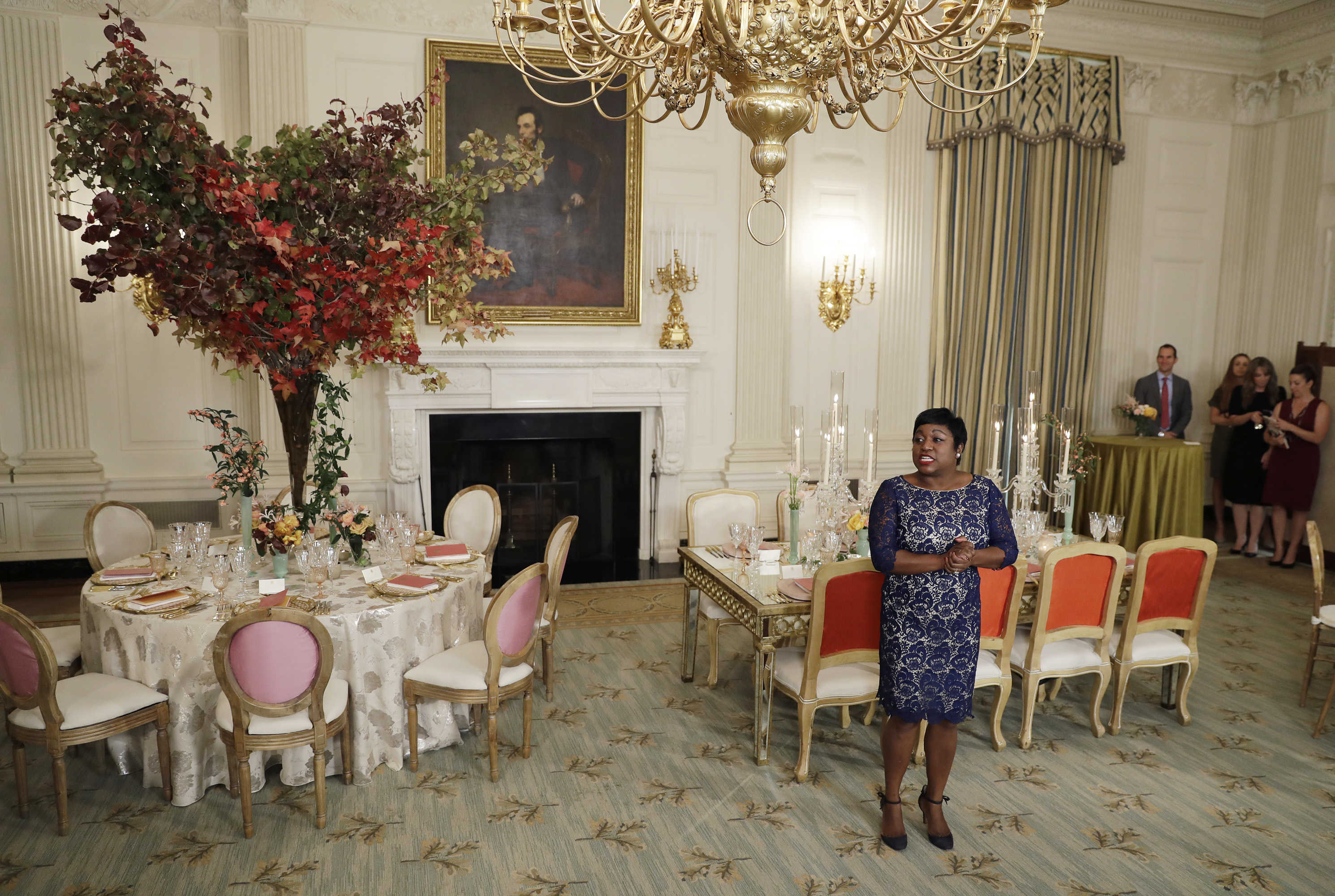 White House social secretary Deesha Dyer speaks to the media in 2016 before the State Dinner to honor the official visit of  Italian Prime Minister Matteo Renzi and his wife Agnese Landini. (AP Photo/Carolyn Kaster)