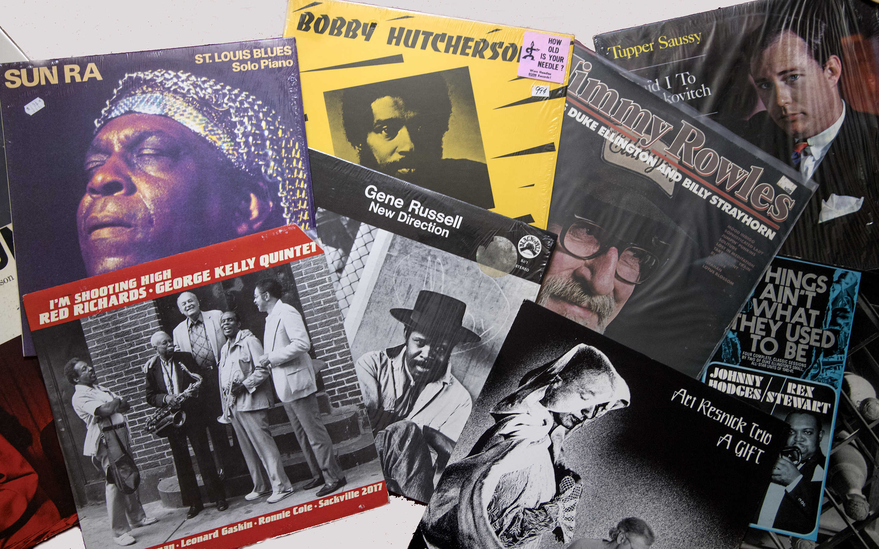 A few of the approximately 2,000 jazz albums which Gil Sokolow, 88, has collected over the past 70 years.