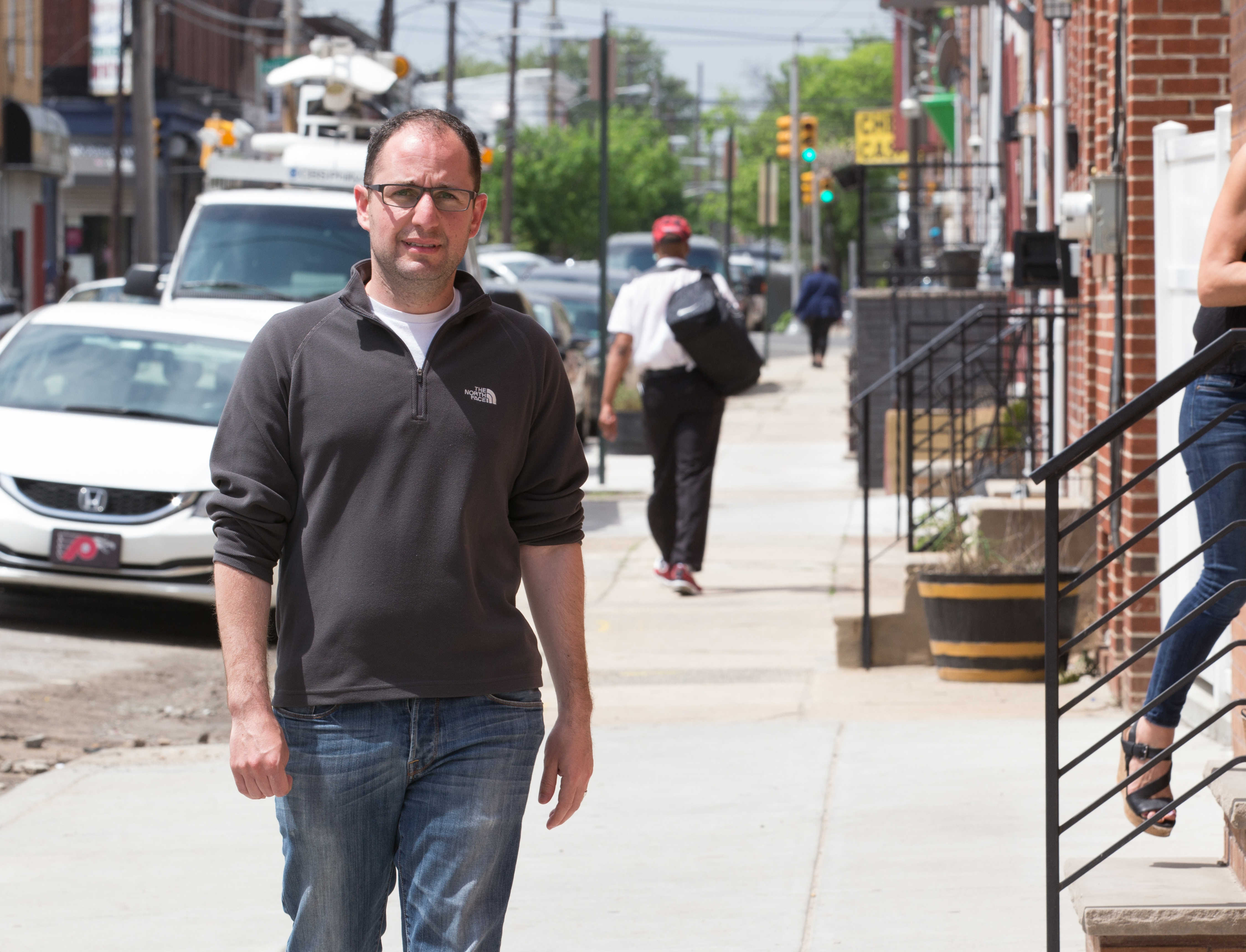 Ori Feibush, at 20th and Wharton Streets, where a fire broke out at one of his construction sites.