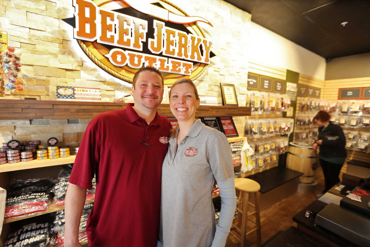 Owners Ben and Ellen Nonnemacher have realized their dream of offering all kinds of beef jerky to the public at Beef Jerky Outlet in the Philadelphia Premium Outlets in Limerick, Pa. Saturday February 18, 2017.