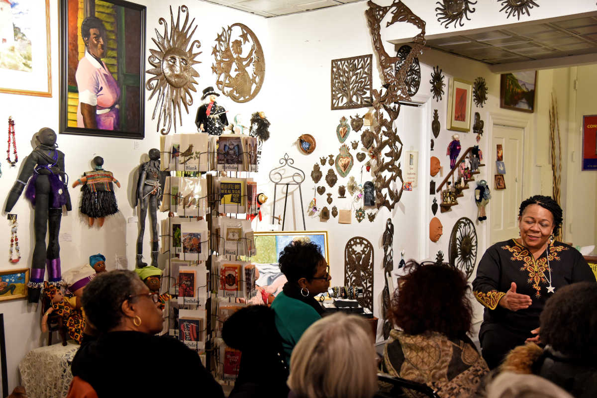 "At Galerie Marie in Collingswood, owner Kimberly Camp teaches a weekly class, ""Albert C. Barnes and African Americans."""