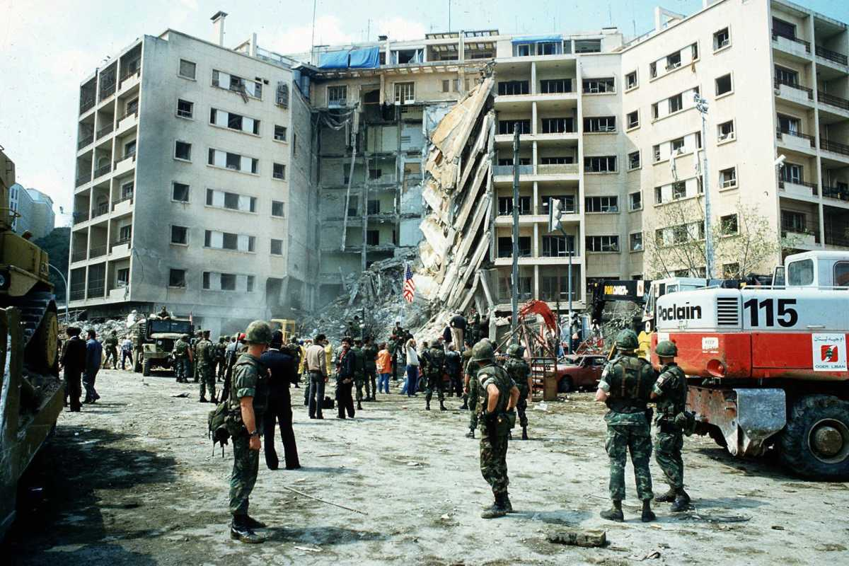 This is a photo showing the destroyed American Embassy in Beirut, Lebanon, following a car bomb, April 19, 1983.