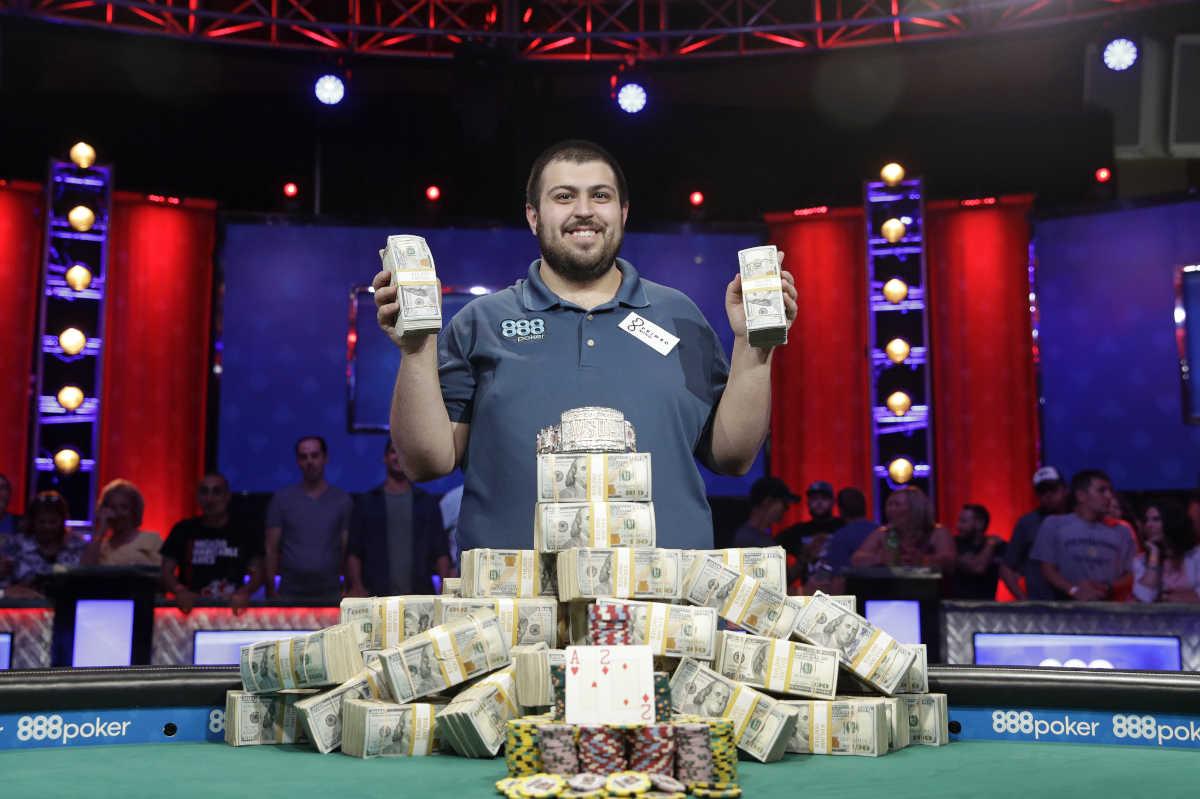 Scott Blumstein wins $8.1 million at the World Series of Poker, Sunday, July 23, 2017, in Las Vegas.