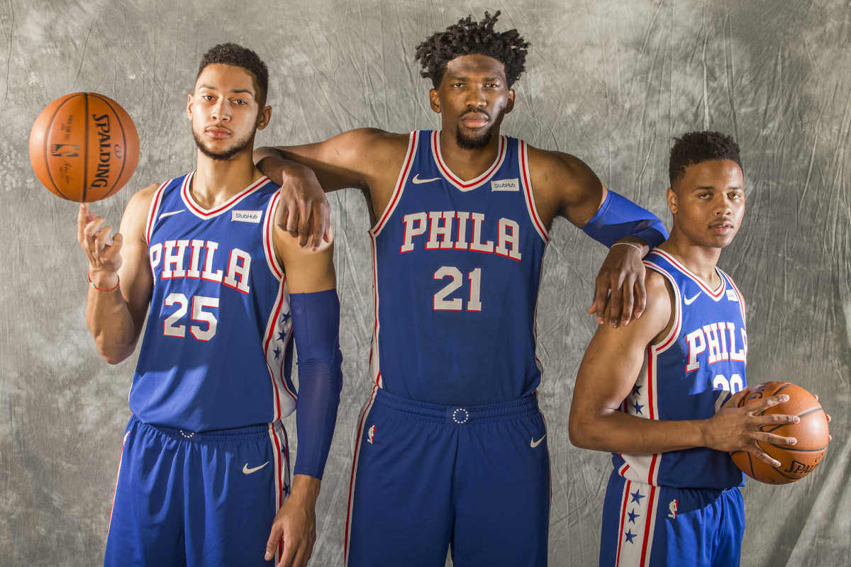 L-R: Ben Simmons, Joel Embiid, and Markelle Fultz of the Sixers at their Media Day on Monday, Sept. 25, 2017.