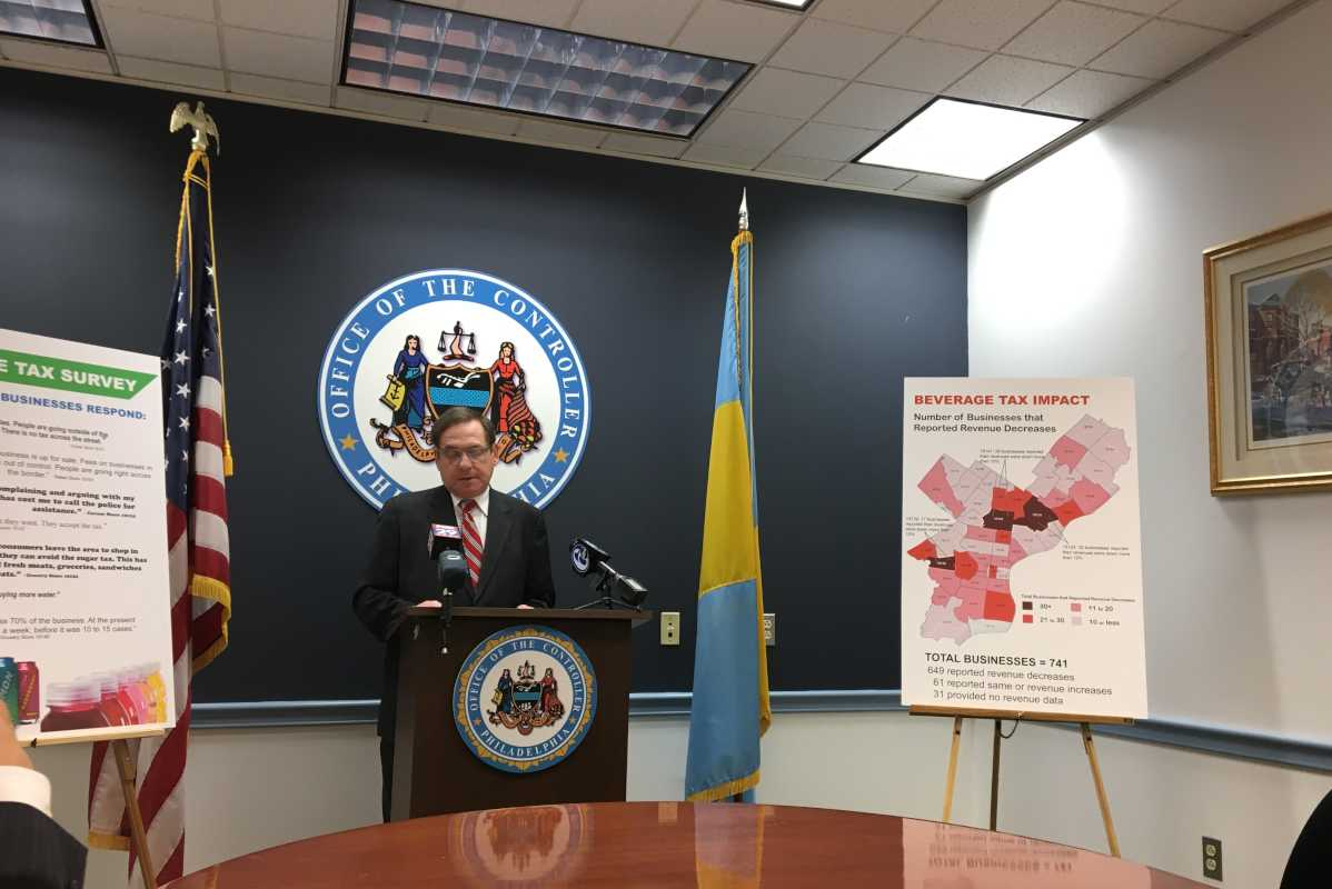 Controller Alan Butkovitz announces the results of his survey of local businesses on the impact of the Philadelphia soda tax.