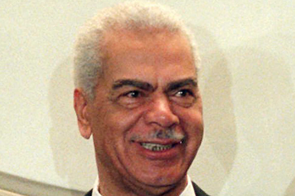 FILE - In this Feb. 3, 1997, file photo, Earle Hyman poses before an induction to the Theater Hall of Fame at the Gershwin Theatre in New York.