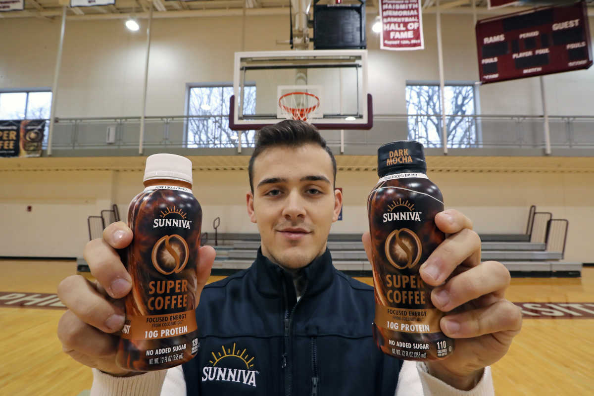 Philadelphia University point guard Jordan DeCicco with his Sunniva Super Coffee in the Gallagher Center Gym Wednesday, Dec. 28, 2016.