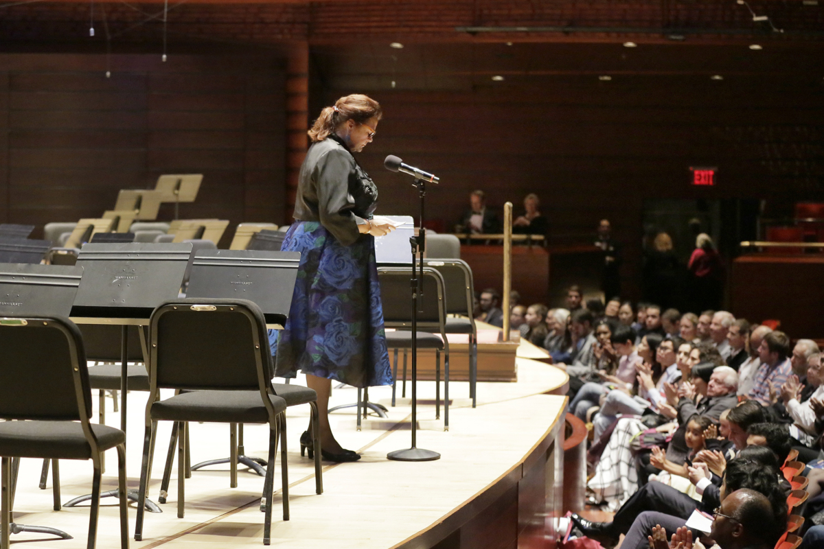 Allison Vulgamore, CEO of the Philadelphia Orchestra, on the Verizon Hall stage announcing there would be no concert and that the musicians had gone on strike during the opening night Gala of the Philadelphia Orchestra at the Kimmel Center on Sept. 30, 2016.