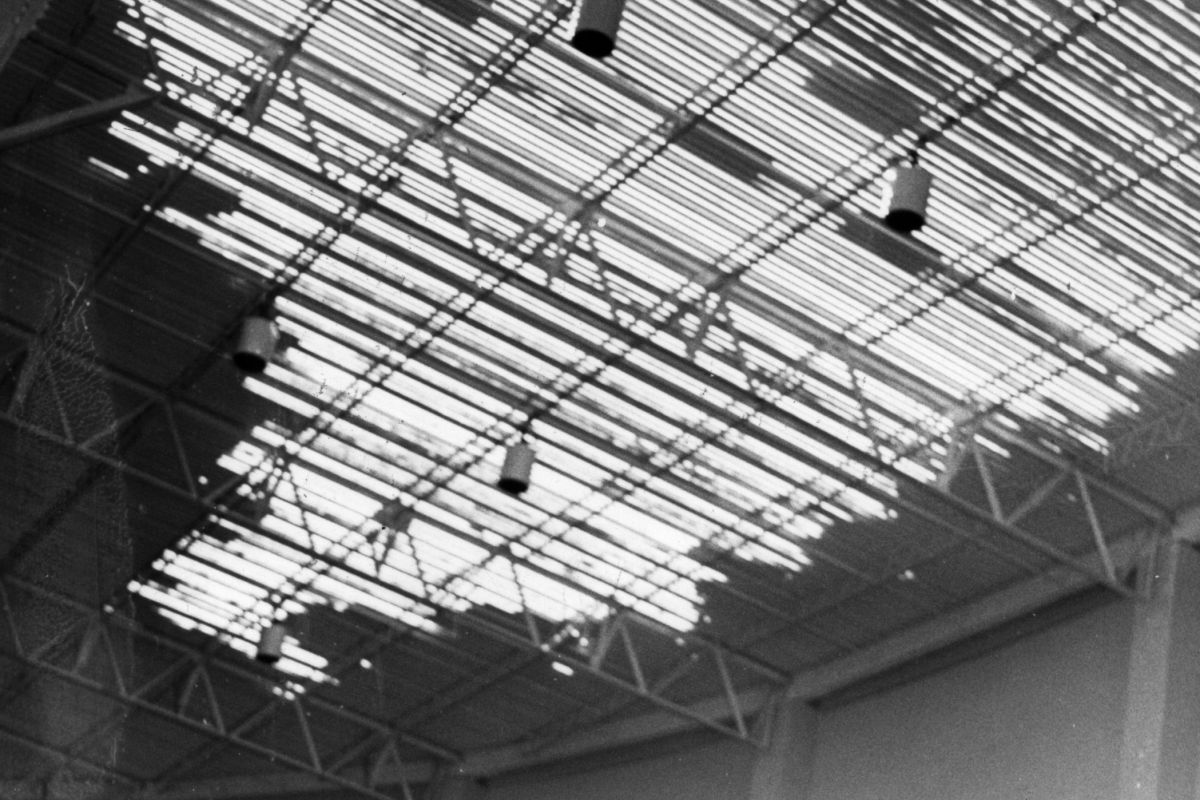 Roof over the Spectrum was ripped off by wind. Feb 1968. <br />