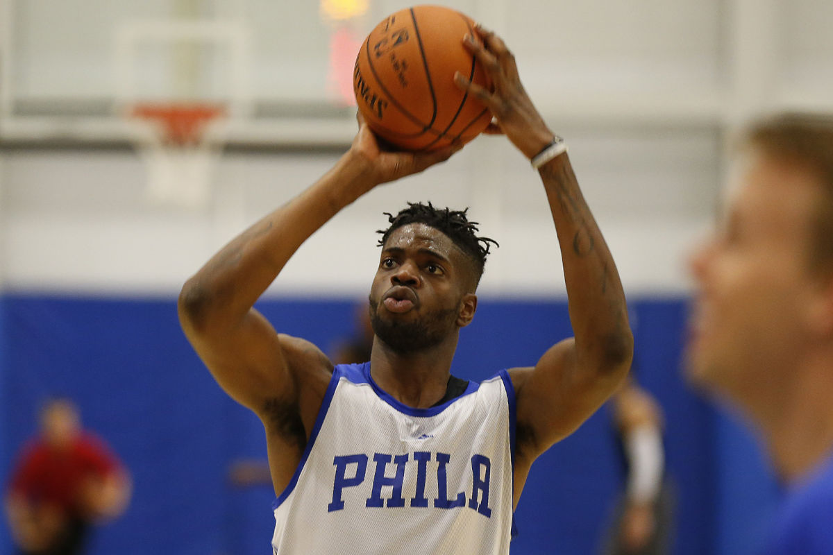 The Sixers' Nerlens Noel takes a shot during training camp at Stockton University in Galloway, N.J. on Tuesday, Sept. 27, 2016.