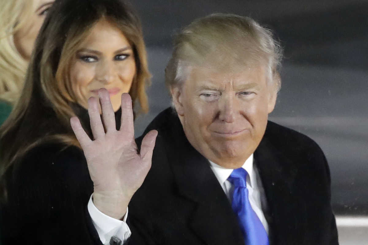 "President-elect Donald Trump and his wife Melania Trump attend a pre-Inaugural ""Make America Great Again! Welcome Celebration"" at the Lincoln Memorial in Washington, Thursday, Jan. 19."