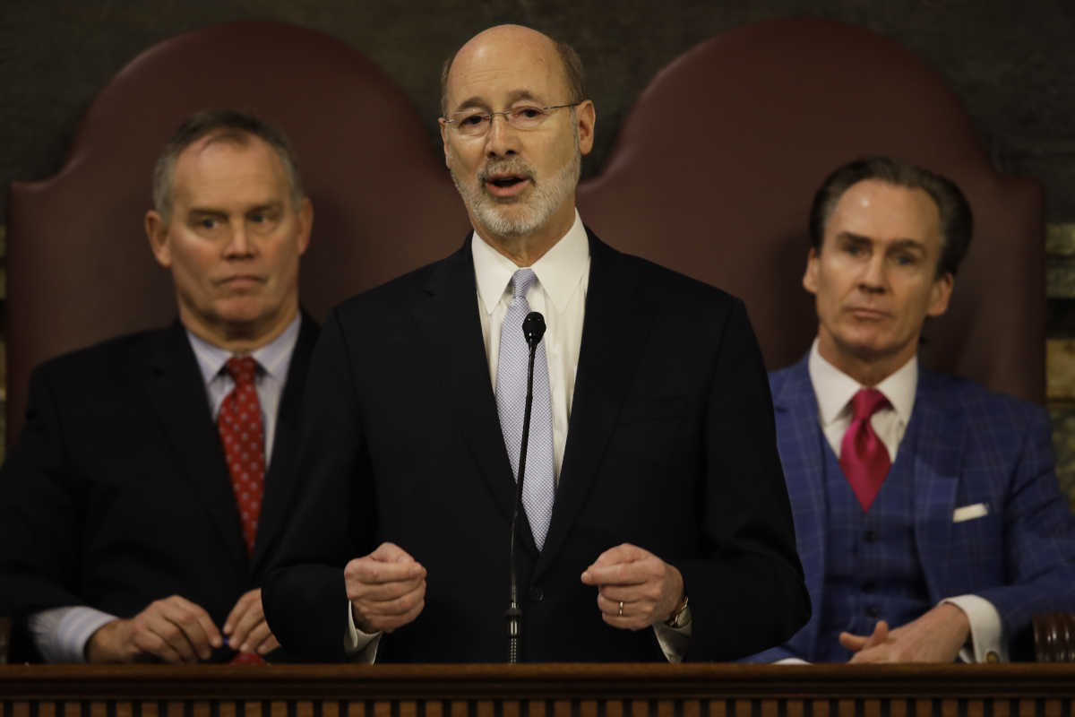 Gov. Tom Wolf delivers his budget address for the 2017-18 fiscal year to a joint session of the Pennsylvania House and Senate.