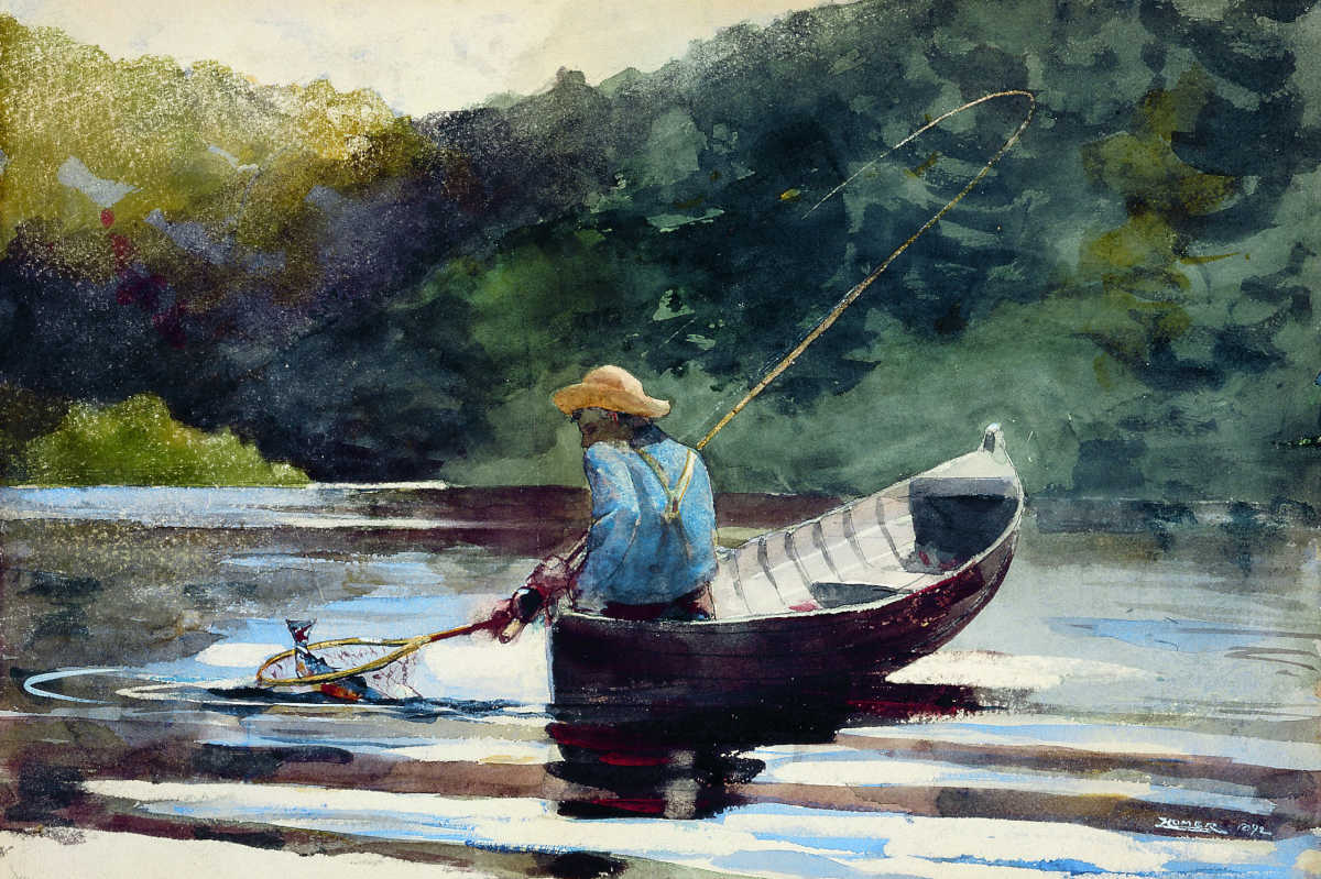 Boy Fishing, Winslow Homer, 1892, Watercolor and graphite on paper, 14 5/8 × 21 inches, San Antonio Museum of Art, Photo by Peggy Tenison.
