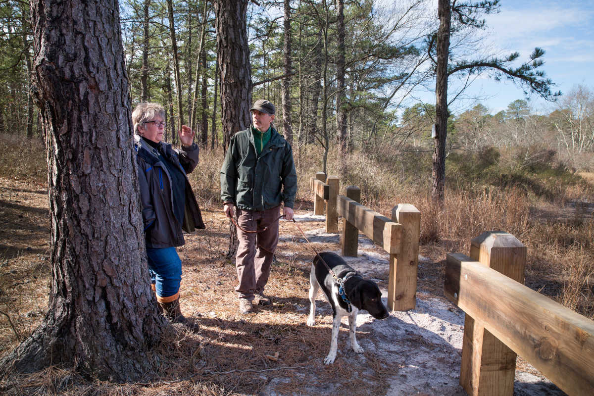 Terry Schmidt, senior management assistant at the New Jersey State Parks Service, left, and John Bunnell, right, senior scientist at the Pinelands Commission, along with dog Dexter, stand near one of the recently completed wooden barricades that the NJDEP has installed along trails in Wharton State Forest to prevent off-road vehicles from driving into ponds that are important breeding habitats for frogs and other creatures.