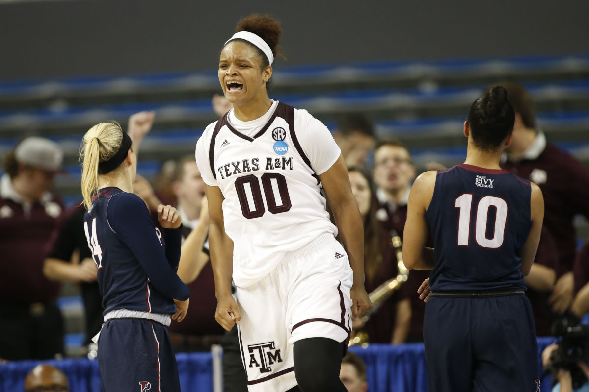 Texas A&M center Khaalia Hillsman celebrates after being fouled and still making her shot against Penn during the second half of a first-round game in the NCAA women's college basketball tournament, Saturday, March 18, 2017, in Los Angeles.