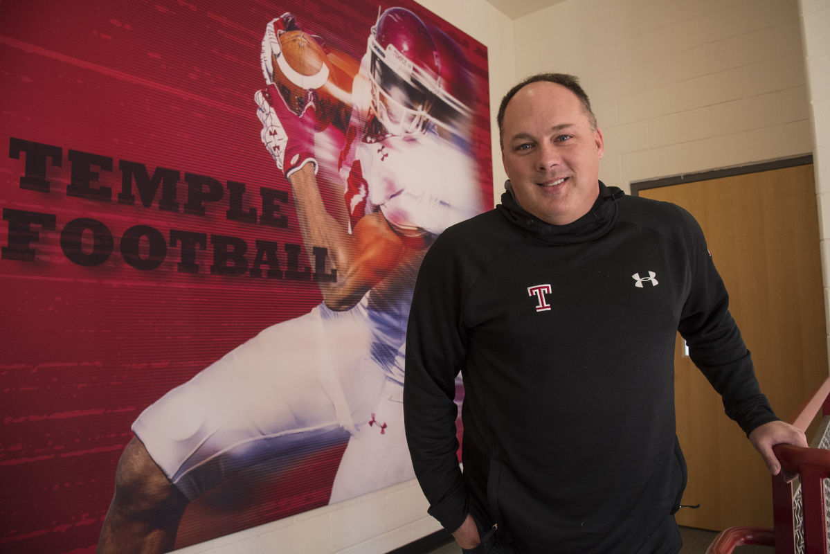 New Temple University football coach Geoff Collins at the Edberg Olson football complex Feb. 6, 2017.