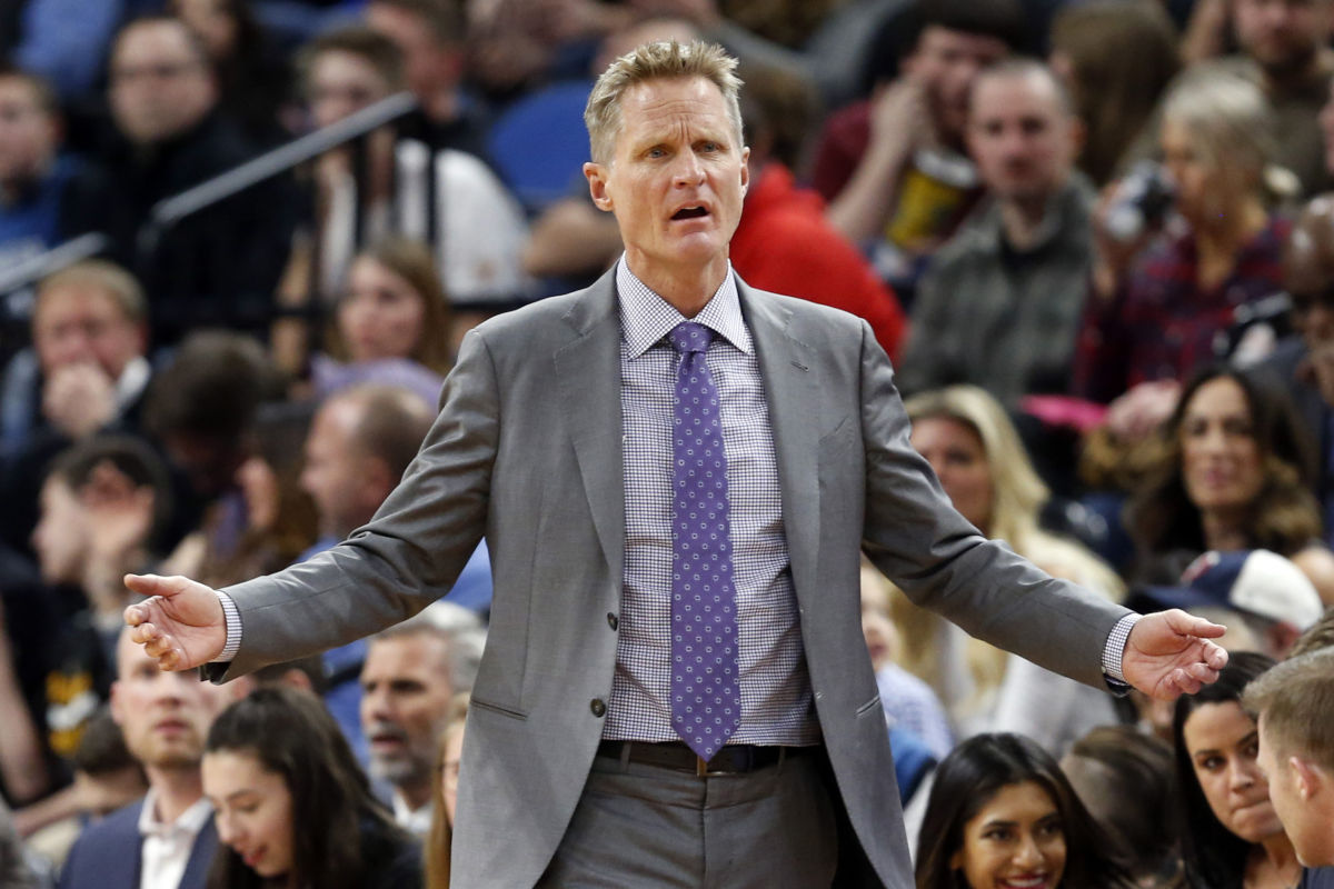 Golden State Warriors head coach Steve Kerr questions a call during the second half of a game against the Minnesota Timberwolves Friday, March 10, 2017, in Minneapolis. The Timberwolves won 103-102.