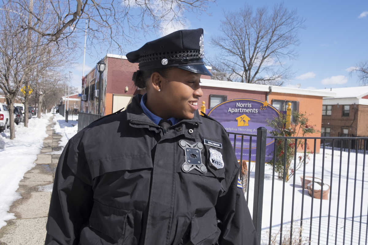 Officer Rokeisha Gallashaw grew up in the Norris Apartment in North Philly and was recruited by PHA for its police department.