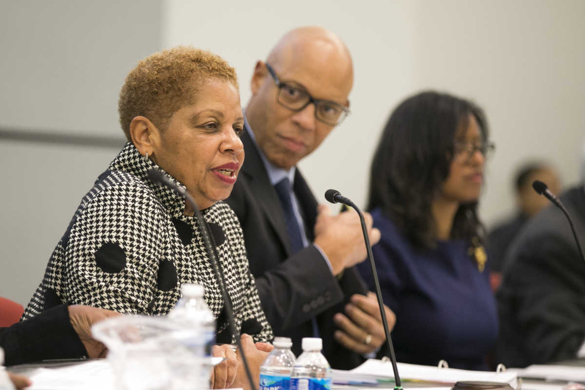 District staff, including Superintendent William R. Hite Jr. (center) told the SRC and the public that they would use a city windfall to pay for additional teachers and to save against possible federal cuts to schools.  Also shown in this file photo are SRC Chair Joyce Wilkerson (left) and Commissioner Farah Jimenez (right).