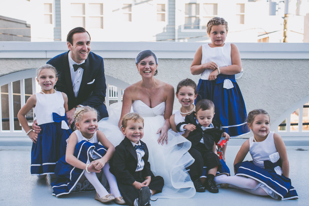 Owen O&amp;#039;Connell and Amy Rodgers with ring bearers and flower girls.<br />