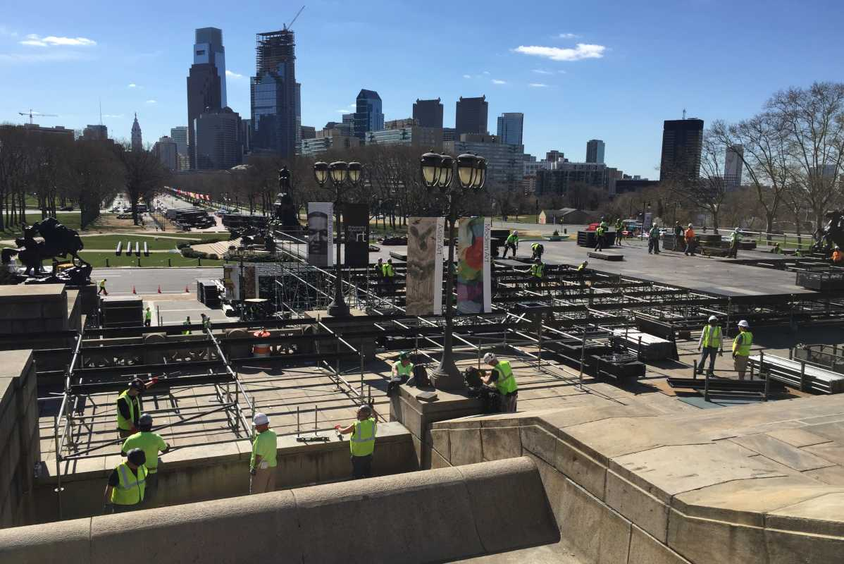 Setup for the NFL Draft gets underway in front of the Philadelphia Museum of Art. The museum's steps will be blocked off and surrounding streets will face closures and parking restrictions due the draft.