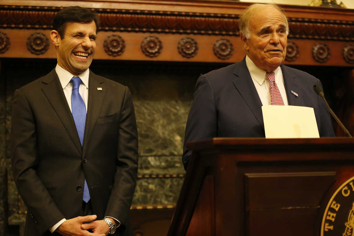 Former Gov. Ed Rendell, who once served as Philadelphia&acute;s district attorney, jokes that Joe Khan (left) whom he endorsed on Wednesday, will be the city&acute;s second-best DA.<br /> DAVID MAIALETTI / Staff Photographer