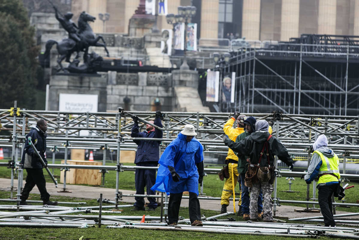 Preparation and construction for the NFL Draft is ramping up on the Ben Franklin Parkway, and workers and setting up a stage at the Art Museum.