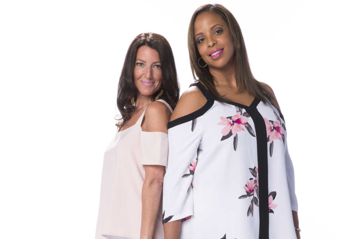 Leslie, right, soft pink Cooper & Ella cold-shoulder blouse, $125, at Bloomingdale's. The look comes together with these wide-legged knit white pants. Monica is similarly styled in a floral blouse, Alfani, $69.50, at Macy's.