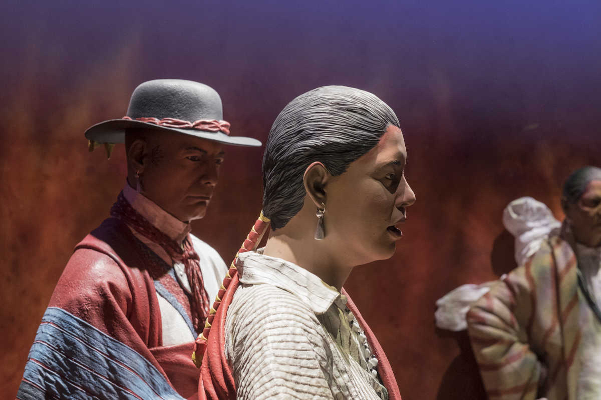 Figures representing members of the Oneida Nation, America's first ally, at the new Museum of the American Revolution  ED HILLE . Staff Photographer