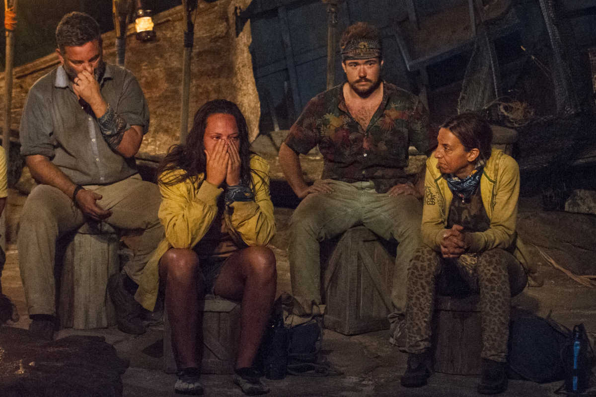 """The Tribal Council on the seventh episode of """"Survivor: Game Changers,"""" with (from left) Jeff Varner, Sarah Lacina, Zeke Smith, and Debbie Wanner."""