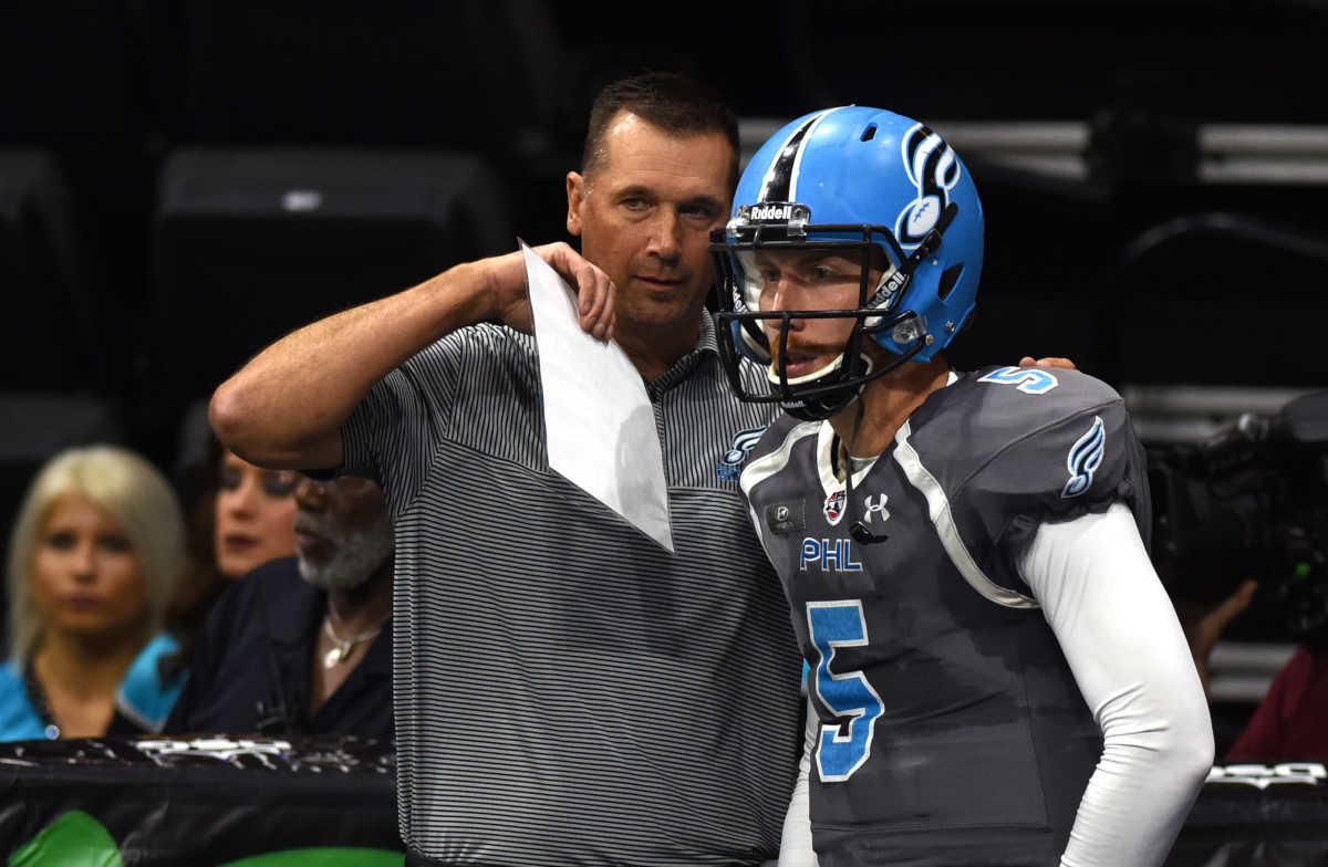 Soul Coach Clint Dolezel, left, confers with quarterback Dan Raudabaugh, right, during the first quarter against Tampa Bay Storm in the Round One Arena Football playoff game back in August in Allentown, Pa. Raudabaugh completed 22-of-31 passes for 257 yards and five touchdowns in the Soul´s season-opening win against the Storm Saturday, April 15, 2017.