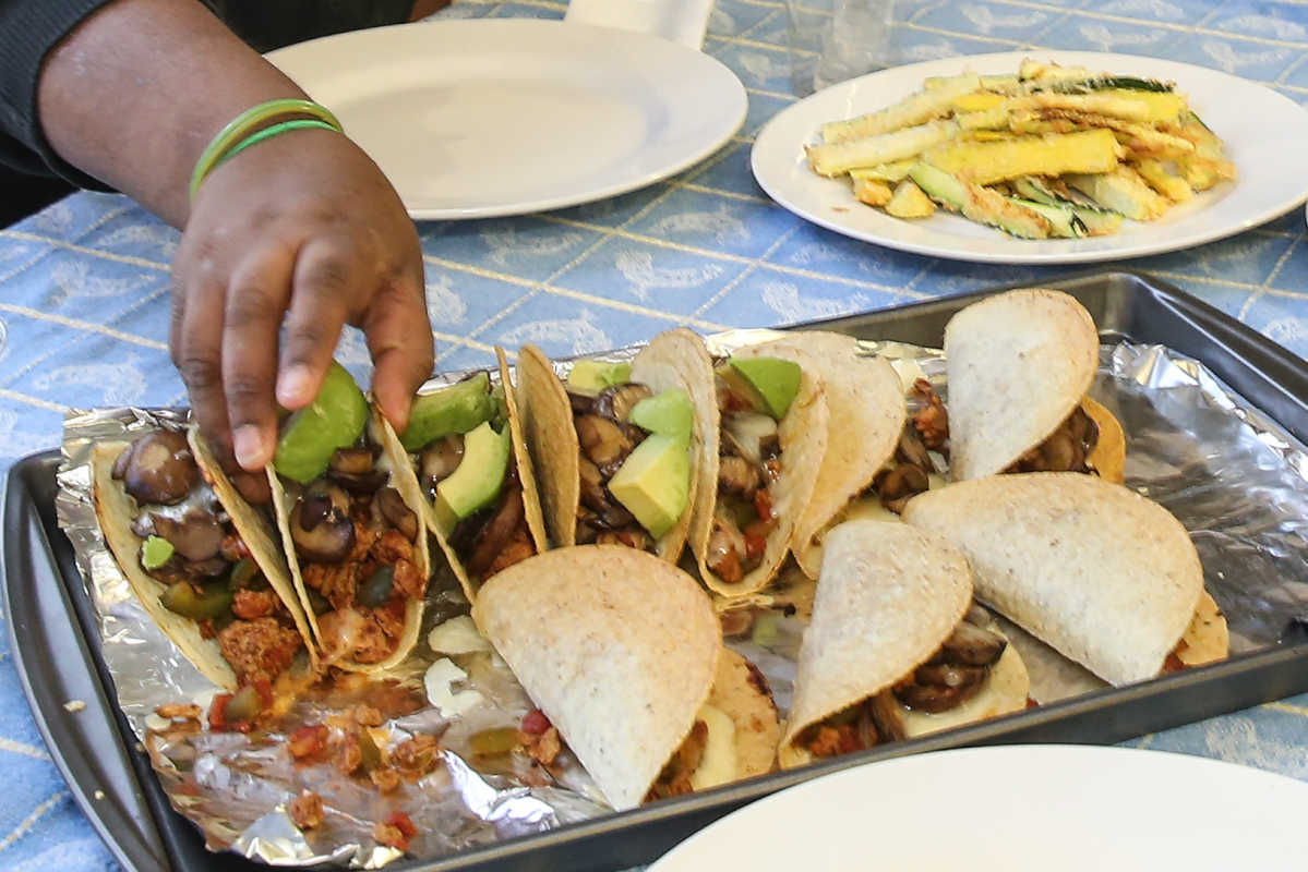 Mushroom and turkey tacos, prepared by students at the Neighborhood Center in Camden, were a hit.