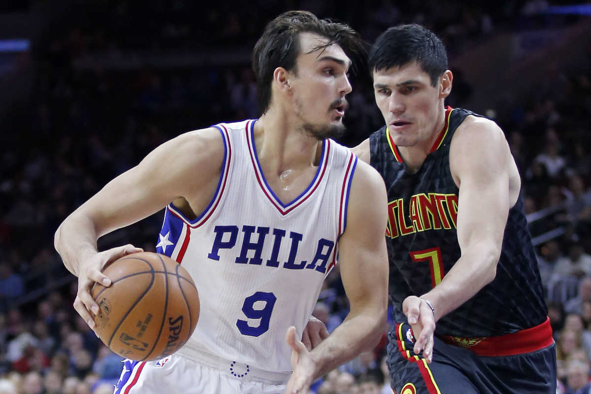 Former 76ers teammates Dario Saric (left) and Ersan Ilyasova were on opposite sides late in the season after a trade, but maybe Ilyasova could return as a free agent this offseason.