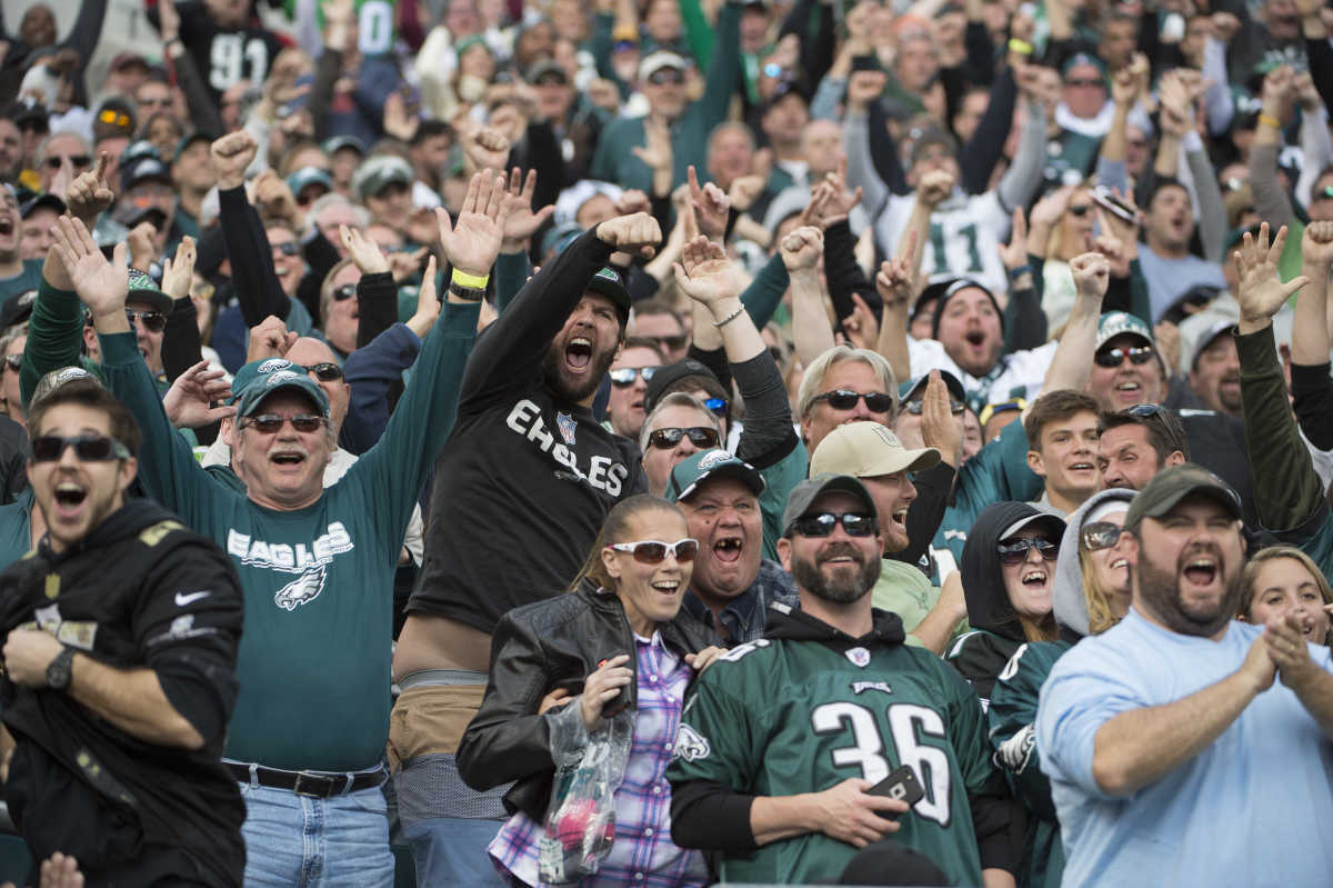 Eagles fans cheers as kick off returner Josh Huff returns a kickoff 98 yards for a touchdown in the game against the Vikings at Lincoln Financial Field October 23, 2016. The Eagles won 21-10.  CLEM MURRAY / Staff Photographer