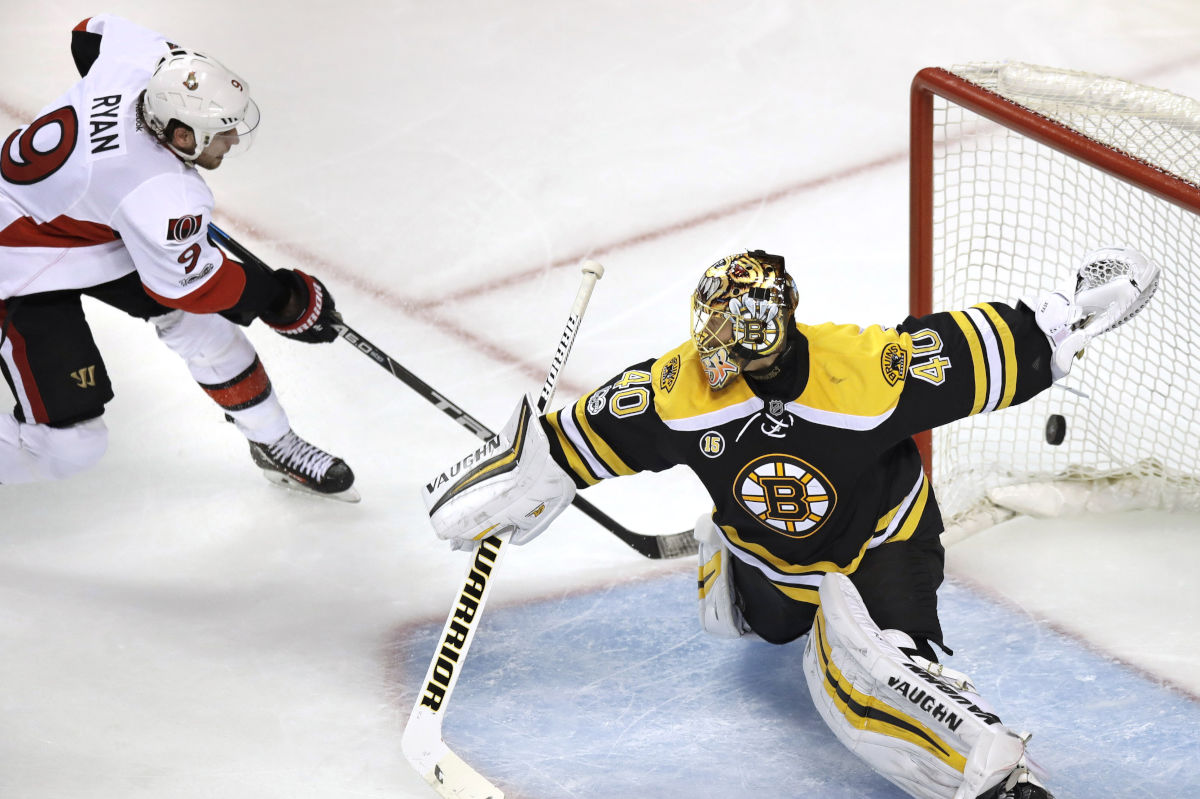 Ottawa Senators right wing Bobby Ryan (9) beats Boston Bruins goalie Tuukka Rask (40) for the game-winning goal during overtime in Game 3 of a first-round NHL hockey playoff series in Boston, Monday, April 17, 2017. The Senators defeated the Bruins 4-3.