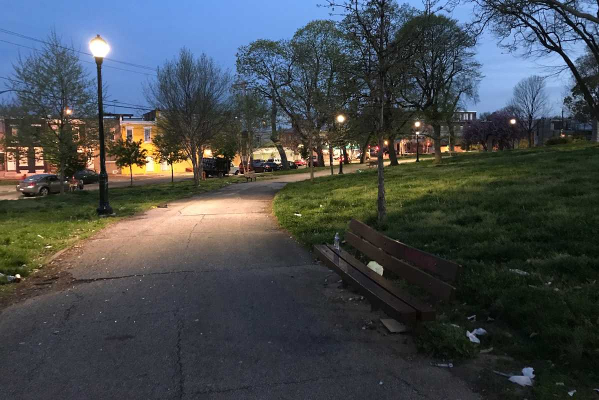 A woman was hit by a police cruiser Tuesday along a pathway in McPherson Square in Kensington.