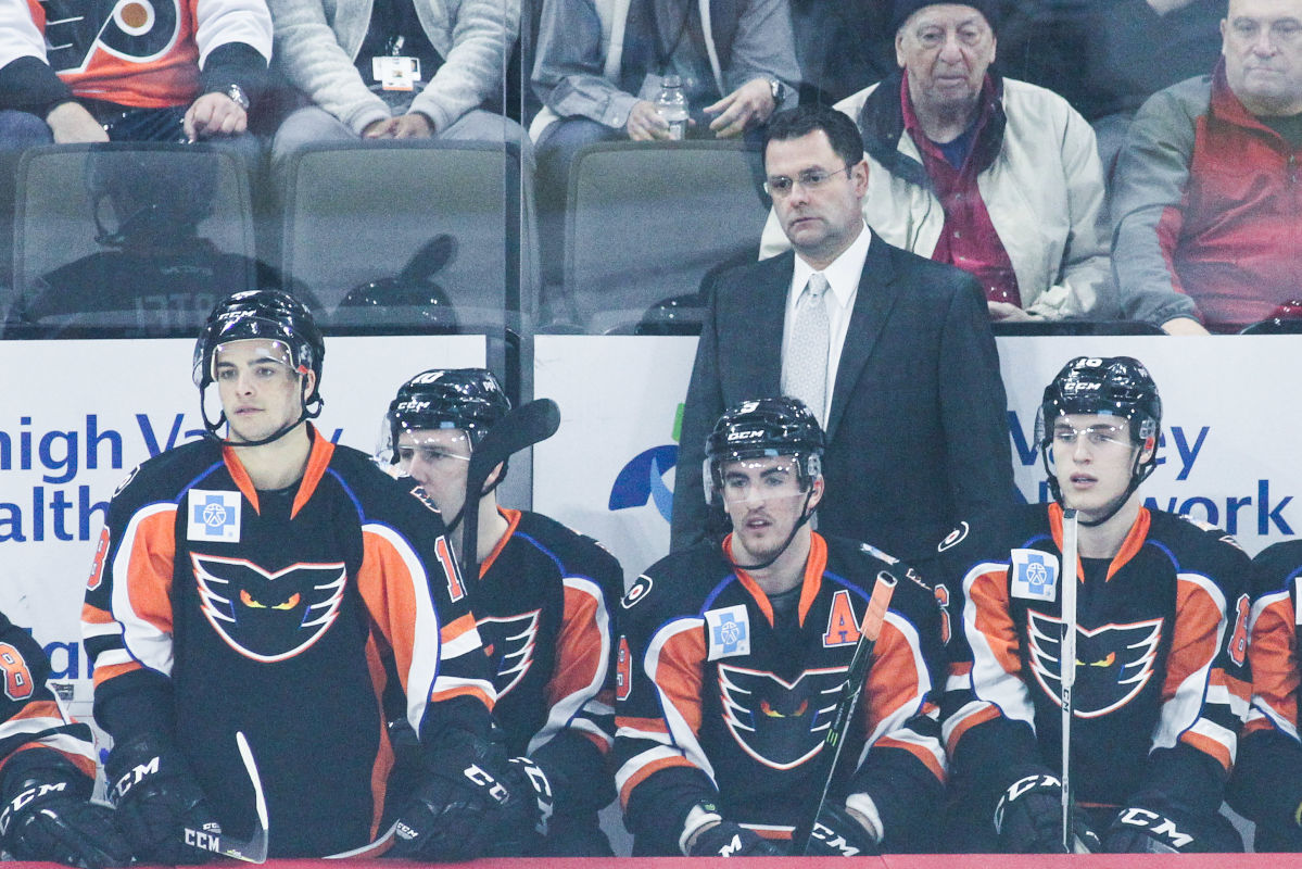 Phantoms´ head coach Scott Gordon stands behind the bench at the PPL Center in Allentown on Feb. 8.