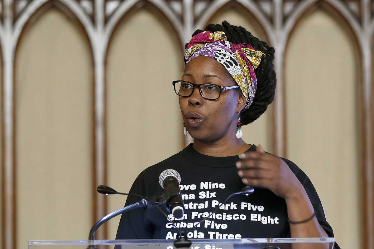 "Kirtrina Baxter speaks  at Broad Street Ministry about the project, ""Sovereignty,"" during a press briefing announcing the citywide ""Philadelphia Assembled"" initiative. DAVID MAIALETTI / Staff Photographer"